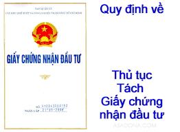 Dịch vụ tách giấy chứng nhận đầu tư và giấy đăng ký kinh doanh tại Nghệ An